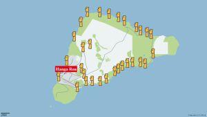 En karta över påskön. På kartan är alla påsköns större statyers position utsatta.