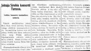 Karjala-lehden juttu 14. huhtikuuta 1929 Boris Sirpon johtamasta konsertista Turussa.