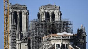 Notre-Dame som omges av byggställningar.