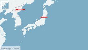 Karta över Japan och ön Sado.