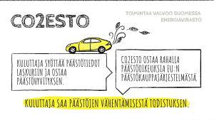 CO2Eston kompensaatiomalli infografiikassa.