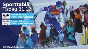 Iivo Niskanen skejtar upp för backe under Tour de Ski.