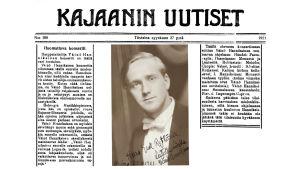 Lehtijuttu Kajaanin Uutisissa Väinö Hannikaisen tulevasta konsertista syyskuussa 1921.