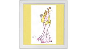 Lassi Rajamaan piirros viulisti Linda Lampeniuksesta.