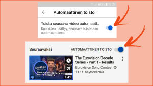 Kuvakaappaus Youtubesta: Automaattisen toiston täppä puhelimessa ja tietokoneessa.