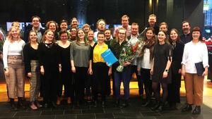 Somnium Ensemble ja kuoronjohtaja Tatu Erkkilä Ylen Vuoden levy 2019 -kunniakirjan jakotilaisuudessa Musiikkitalossa 29.1.2020.