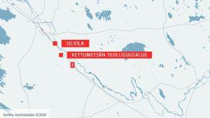 Kartta Ulvilan Kettumetsän teollisuusalue.