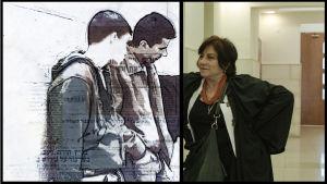 Asianajaja Lea Tsemel käytävällä nuorten miesten kanssa, miehet piirretty anonymitettin suojaamiseksi. Kuva dokumenttielokuvasta Oikeudenpalvelija.
