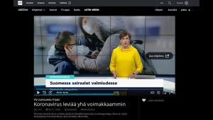 Ruutukaappaus Yle Areenan sivulta, jossa Marjukka Havumäki lukee uutisia
