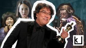 Kuvassa Bong Joon Ho pokkaamassa Oscar-pystin.