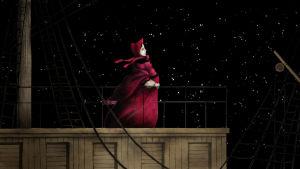 Animaatiokuva jossa punaisiin pukeutunut nainen seisoo laiturilla, tähtitaivas taustalla. Kuva dokumentti-musiikkielokuvasta Rakkaus ja kuolema: Enrique Granados.