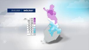 Karta över Finland med det aktuella snöläget