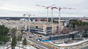 Oulun yiopistollisen sairaalan rakennustyömaa