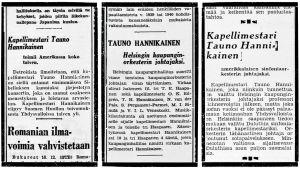 Uutisia kapellimestari Tauno Hannikaisesta vuosilta 1940, 1941 ja 1942.