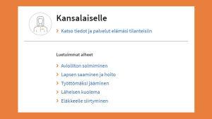 Kuvakaappaus suomi.fistä: Luetuimmat aiheet osiosta Tiedot ja palvelut elämäsi tilanteisiin.