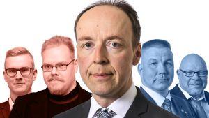 Grafik där fem män syns. I mitten Jussi Halla-aho.