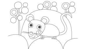 Pikku Kakkosen värityskuva, hiiri