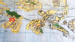 Kaupunkikartta Viipurin Sorvalin, Neitsytniemen ja Saunalahden alueista vuodelta 1935..