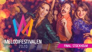 Melodifestivalens programledare 2020 Lina Hedlund, David Sundin och Linnéa Henriksson