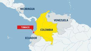 karta över colombia och tumaco