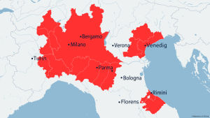 Karta över områdena med karantänåtgärder i norra Italien.