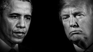 Barack Obama ja Donald Trump käsitellyssä kuvassa.