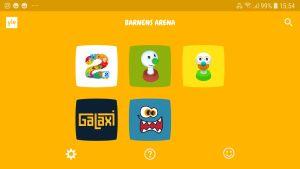I Barnens Arena appen finns fem olika innehållshelheter, Pikku Kakkonen med finskt innehåll för de små, Galaxi med finskt innehåll för de äldre barnen, Piki-BUU för de små, BUU-klubben för barn upp till 7 samt Hajbo, innehåll på svenska för större barn