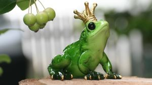 keraaminen sammakko kruunu päässä