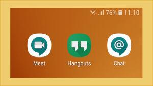 Kuvakaappaus puhelimen näytöltä, jossa näkyy 3 Googlen sovelluksen logot: Hangout, Chat ja Meet