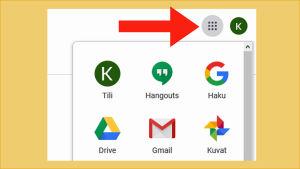 Kuvakaappaus Gmailista: tietokoneella ja tabletilla ylänurkassa on 9 pisteen ikoni, josta aukeavat kaikki Googlen sovellukset / ohjelmat.