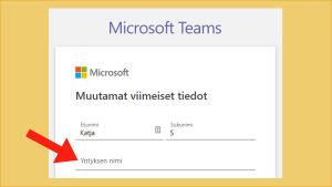 Kuvakaappaus Microsoft Teams -sovelluksen käyttöönotosta: Pitää täyttää kohta Yrityksen nimi.