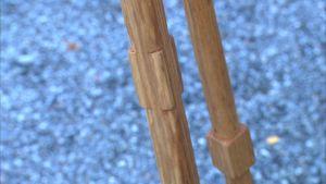 En detalj av ett skaft till en kratta.
