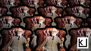 Madame Tussaud'n vahakabinetin nukke Sigmund Freud istuu nahkaisessa nojatuolissa