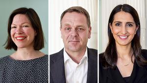 Anni Sinnemäki, Jan Vapaavuori ja Nasima Razmyar.
