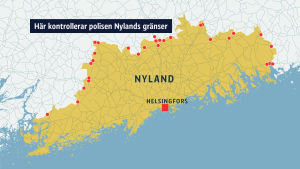 Karta över det område där polisen kontrollerar Nylands gränser.