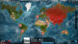 En skärmdump från spelet Plague Inc. På bilden syns en världskarta där Asien till stora delar färgats rött för att indikera att ett virus spridit sig där.