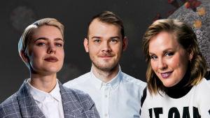 Juontajat Hanna Hantula, Toivo Haimi ja Marjukka Mattila