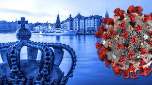 Bild på Stockholm och i förgrunden en illustration på ett coronavirus.