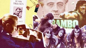 """Ett bildkollage. I nedre vänstra hörnet syns skådespelaren Kati Outinen och ovanför henne pärmbilden av Henrik Tikkanens roman """"Brändövägen 8"""". I det nedre högra hörnet syns hårdrocksbandet Kiss och ovanför dem Johan Ludvig Runeberg och Rambo."""