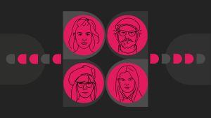 Dokkarifestivaalin suosittelijat Mona, Julia, Jesse ja Aino piirrettyinä hahmoina