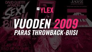 """Kuvassa teksti """"Vuoden 2009 paras Throwback-biisi"""" ja sen taustalla kyseisen vuoden singlejulkaisujen kansikuvia."""