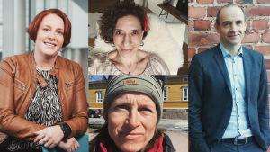 Fyrdelad bild med porträtt på tre kvinnor och en man.