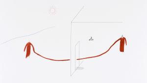 Nuoren venäläisen taiteilijan Asya Marakulinan minimalistisessa teoskuvassa kaksi hahmoa, joista yksi on talon sisällä ja toinen ulkona, pitelee punaista lankaa välissään
