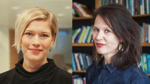 Två kvinnor, till vänster blond kvinna i pageklippning, till höger brunhårig kvinna framför bokhylla.