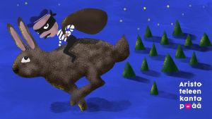 Piirretty kuva. Rosvon näkyinen henkilö ratsastaa jäniksen selällä. Tausta on sininen missä vihreitä puita. Teksti Aristoteleen kantapää.