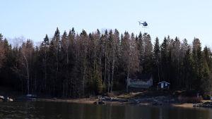 En helikopter röjer träd och grenar längs en ellinje i Vasa skärgård.