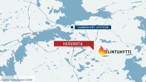 Karta med Tammerfors, Hervanta samt Lintuhytti.