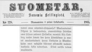 Suometar-lehti 2.10.1865: mamselli Alie Lindberg on lähtenyt opiskelemaan ulkomaille.