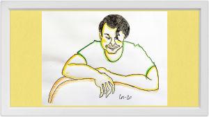 Lassi Rajamaan piirros sellisti Marko Ylösestä.