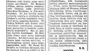 Kritiikkejä Helsingin Musiikkiopiston oppilasnäytteistä keväällä 1916.
